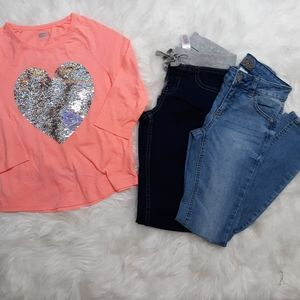 Justice SZ 8 Jean's and Heart Top